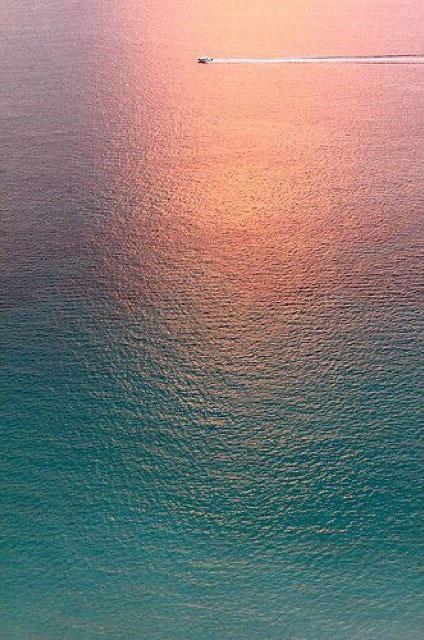 美国迈阿密,海上的美丽光线