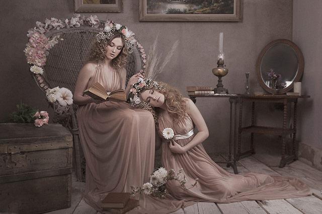 古典小说的场景和道具,姐妹二人的造型